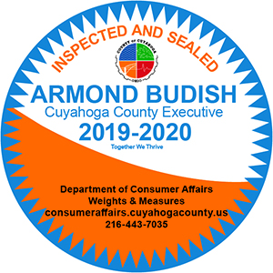 "Blue, white and orange circular seal that says ""Inspected and Sealed, Armond Budish Cuyahoga County Executive, 2019-2020"