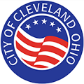 circle logo in blue with City of Cleveland Ohio around it