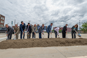 Cuyahoga County leaders breaking ground at Dealer Tire in Cleveland, Ohio
