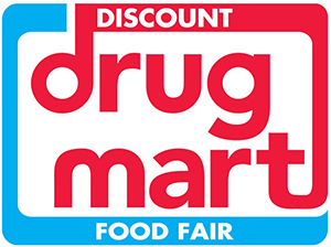 red words drug mart with blue around it