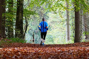 A man jogging on a towpath trail in the forest