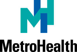 blue letters M and H with word MetroHealth under it