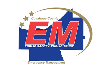 blue graphic of Cuyahoga County with red letters E M on top