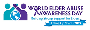 "A close-up of the World elder Abuse Awareness Day banner that reads ""World Elder Abuse Awareness Day"