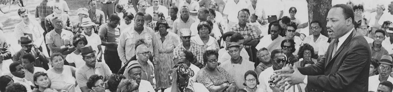 Martin Luther King Junior giving a speech
